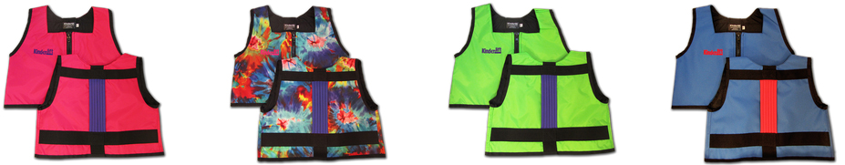 four-multi-colored-kinderlift-stability-vests-in-a-row